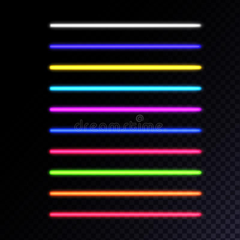 Set of neon lamps. Laser beams collection illustration royalty free illustration