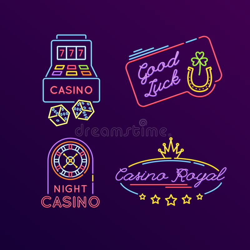 Set of neon signs, bright signage. Casino, gaming, gambling, roulette. Set of neon signs, bright signage. Light indicators, neon signs, glowing elements vector illustration