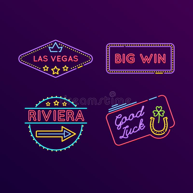 Set of neon signs, bright signage. Casino, gaming, gambling, roulette. Set of neon signs, bright signage. Light indicators, neon signs, glowing elements royalty free illustration