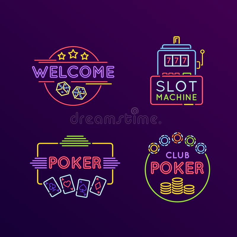 Set of neon signs, bright signage. Casino, gaming, gambling, roulette. Set of neon signs, bright signage. Light indicators, neon signs, glowing elements stock illustration