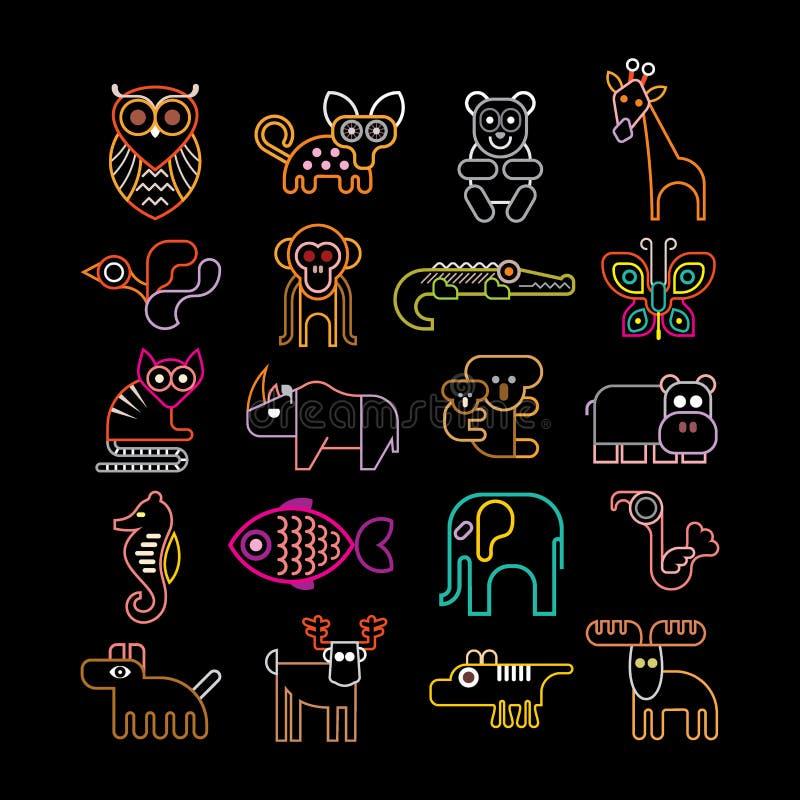 Set neonowe zwierzęce ikony ilustracji