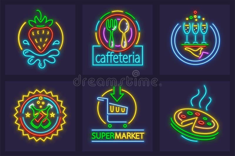 Set neonowego znaka ikony ilustracji
