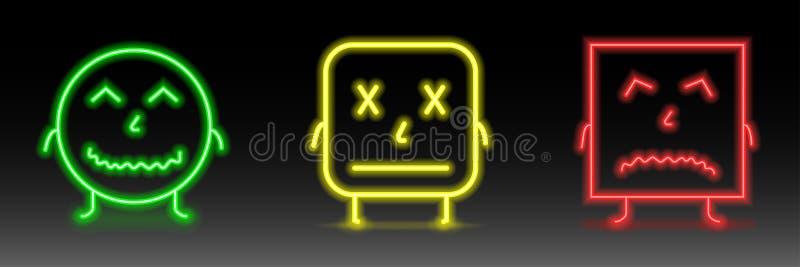 Set neonowi uśmiechów emoticons Kreskowe ikony Szczęśliwa, pocker twarz, i nieszczęśliwi smileys, Emoji set royalty ilustracja