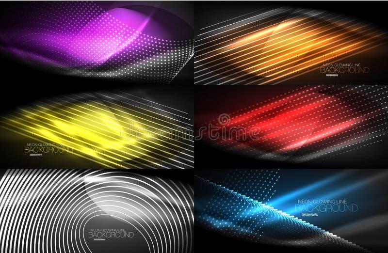 Set neonowy gładzi falowych cyfrowych abstrakcjonistycznych tła ilustracja wektor