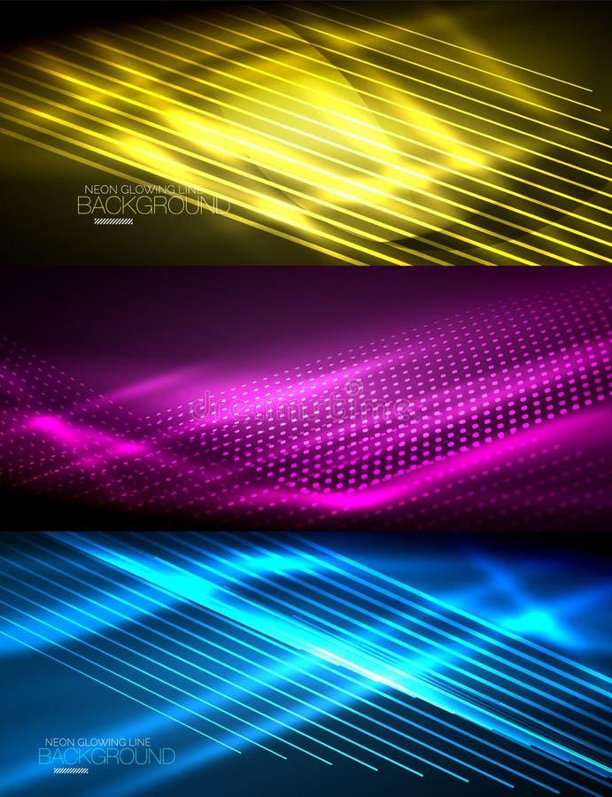 Set neonowy jarzyć się macha i linie, błyszczący lekkiego skutka techno ruchu cyfrowi tła Kolekcja ciemna przestrzeń ilustracji
