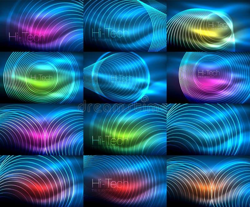 Set neonowy kółkowy kontur dzwoni tła ilustracji