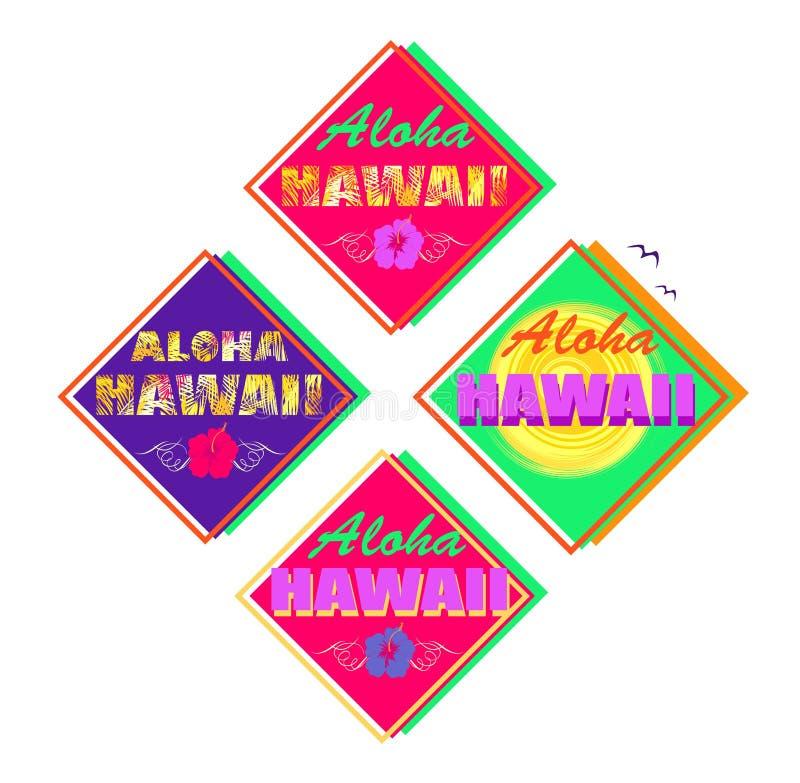 Set neonowy kolorowy summery druk z Hawaje literowaniem, palma liśćmi, poślubnikiem i słońcem dla T koszula Aloha, etykietki ilustracji