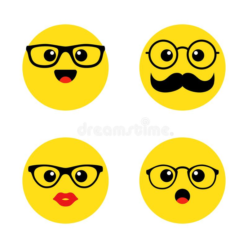 Set of nerd emoticons with glasses. Kawai cute faces. Funny emoticons. Flat icons. Vector illustration. stock illustration