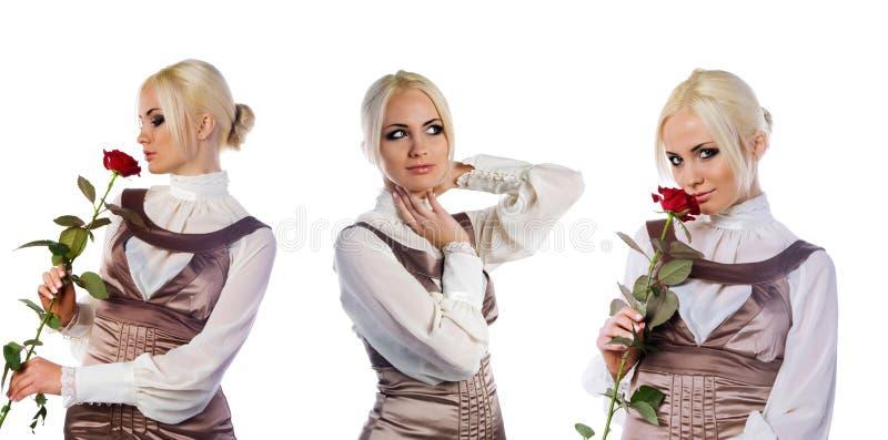 Set nette Fotos der jungen Frauen lizenzfreie stockfotografie