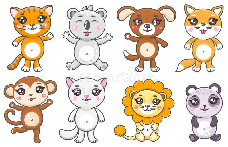 Set nette Karikaturtiere Lächelnde Baby Animas in kawaii Art lokalisiert auf weißem Hintergrund vektor abbildung