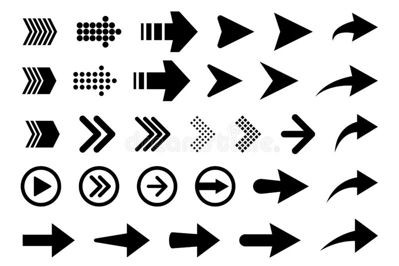 Set of new style black vector arrows isolated on white. Arrow vector icon. Arrows vector illustration collection. Vector illustration isolated on white stock illustration
