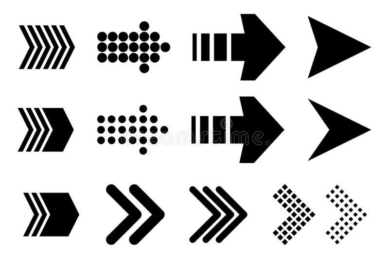 Set of new style black vector arrows isolated on white. Arrow vector icon. Arrows vector illustration collection. Vector illustration isolated on white royalty free illustration