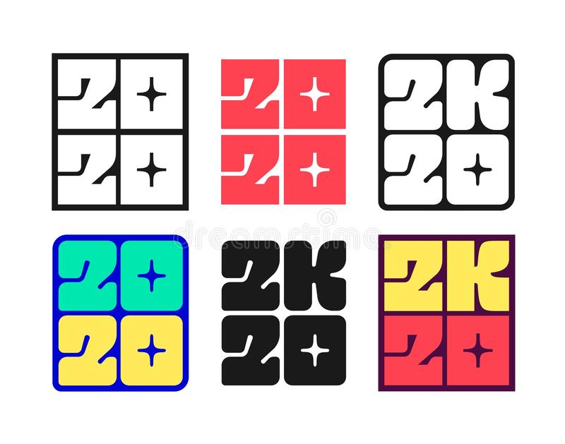 Set of New Year 2020 badges stock illustration