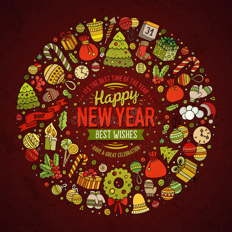 Set of New Year cartoon doodle objects round frame vector illustration