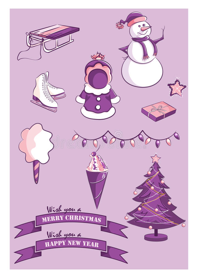 Download Set Of New Year And Christmas Items Stock Vector - Image: 43228102
