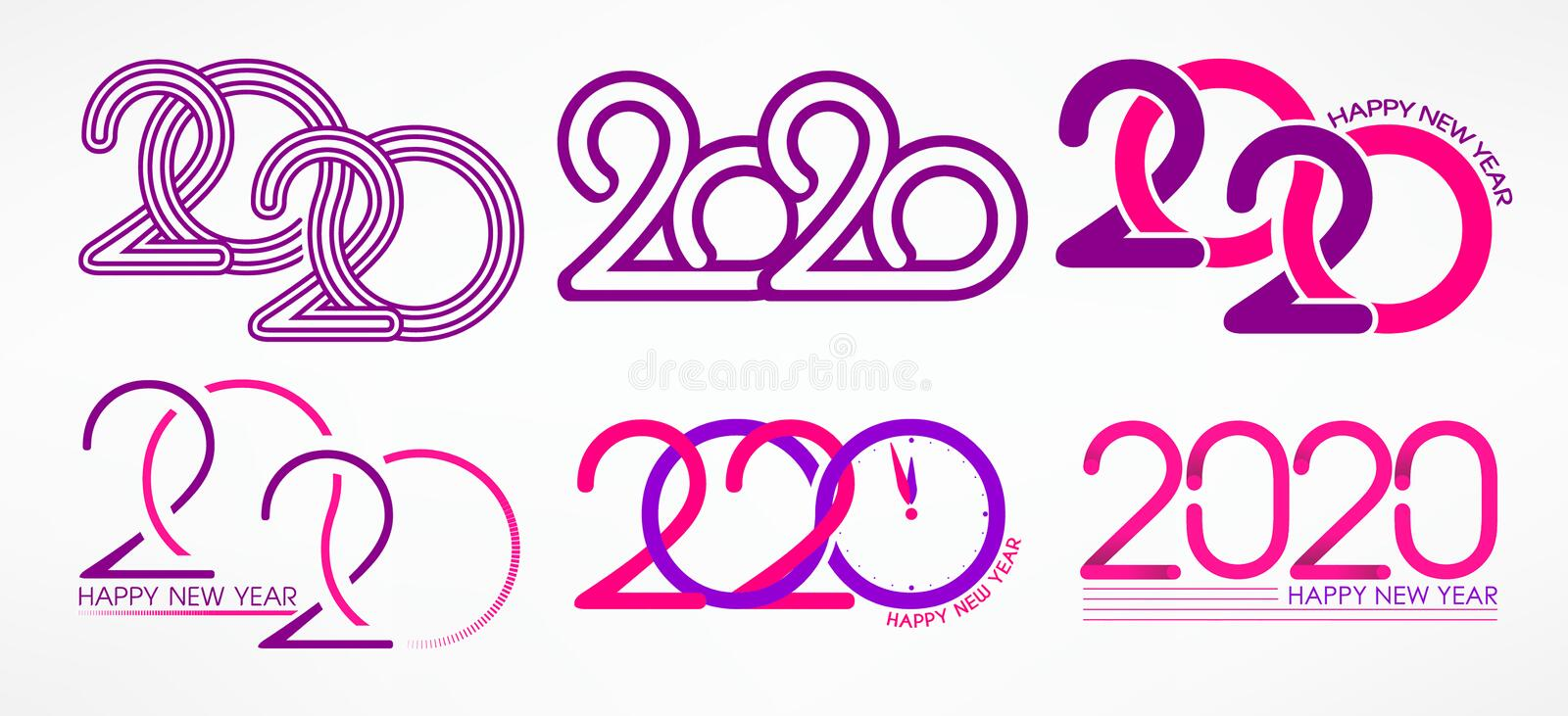 Set of New Year logos. Happy new year 2020 lettering templates. Isolated vector objects on a light background. Christmas. vector illustration
