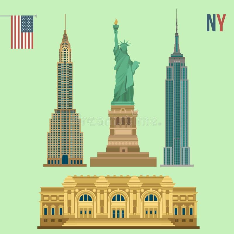 Set of New York Famous Buildings. Statue of Liberty, Metropolitan Museum of Art, Empire State Building, Chrysler Building stock illustration