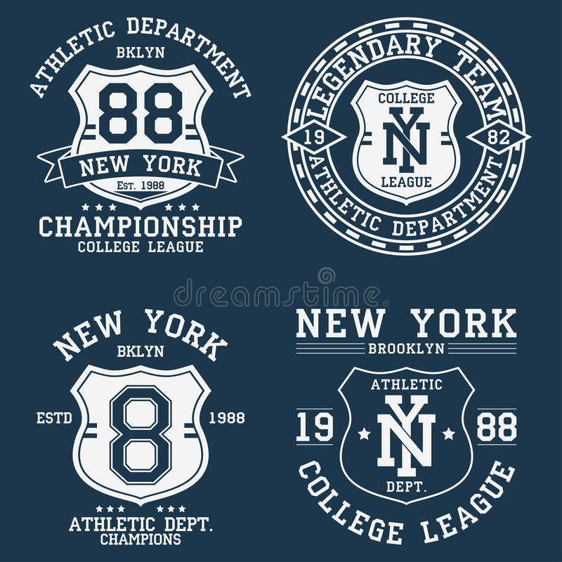 Set of New York, NY vintage graphic for t-shirt. Collection of original clothes design with shield and number. Apparel typography. vector illustration