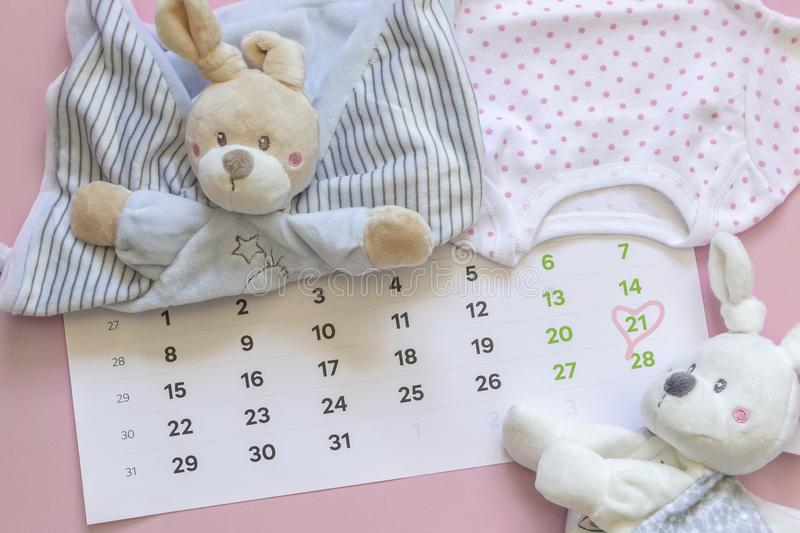 Set of newborn accessories in anticipation of  child - calendar with circled number 21 twenty one, baby clothes, toys on pink. Background. Copy space, flat lay royalty free stock images