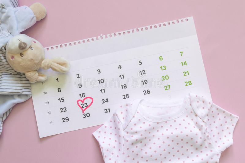Set of newborn accessories in anticipation of  child - calendar with circled number 23 twenty three, baby clothes, toys on pink. Background. Flat lay, top view royalty free stock photo