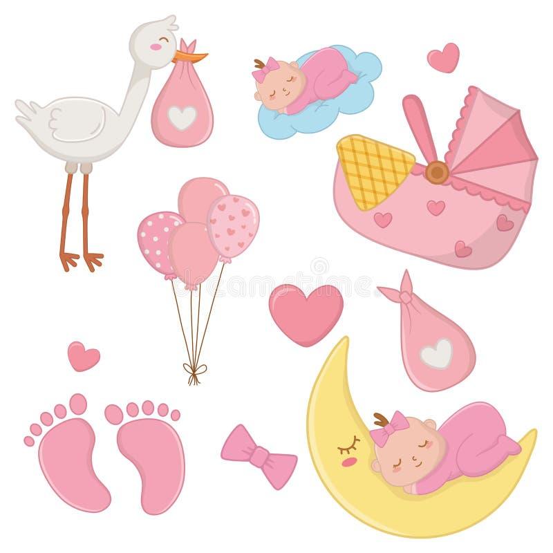Set of newborn baby elements stock illustration