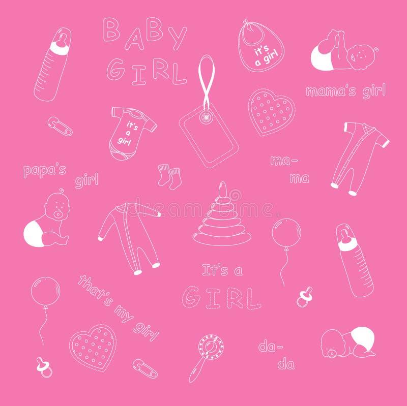 Download Newborn baby girl pattern stock vector. Illustration of fabric - 29939761