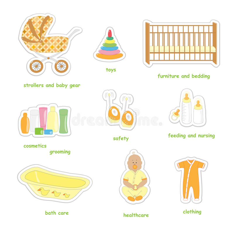 Newborn baby stickers stock vector Illustration of