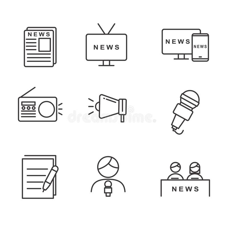 Set of news related vector illustration with simple line design. Suitable for icon stock illustration