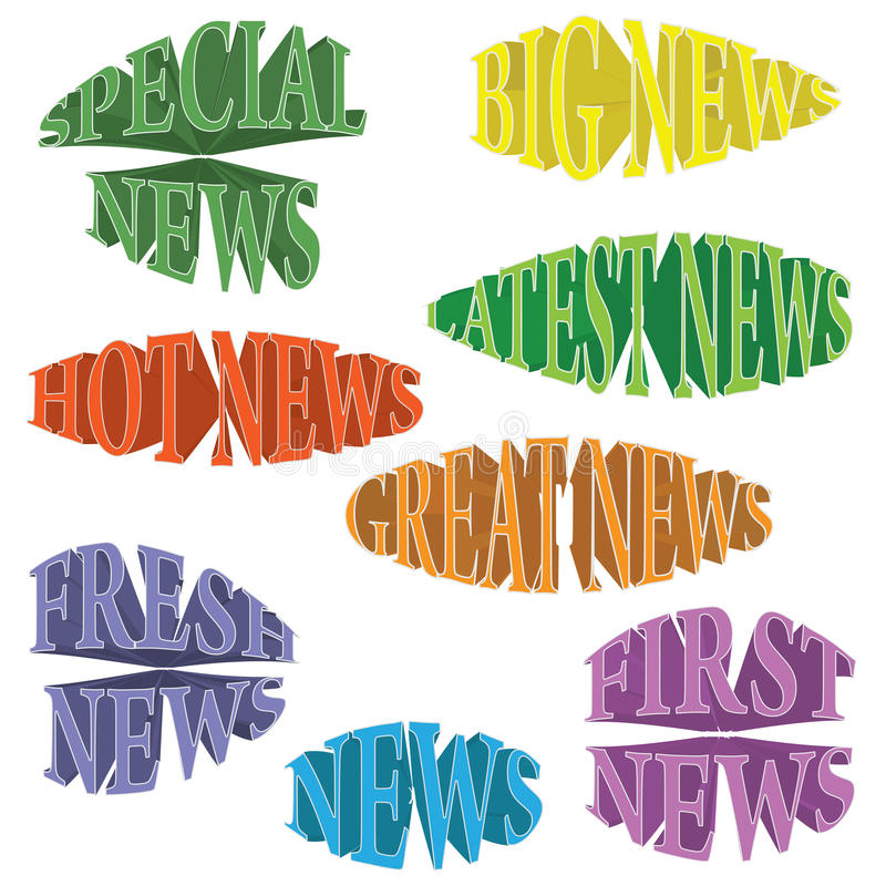 Set of news words. Set of different 3d news words in retro style royalty free illustration