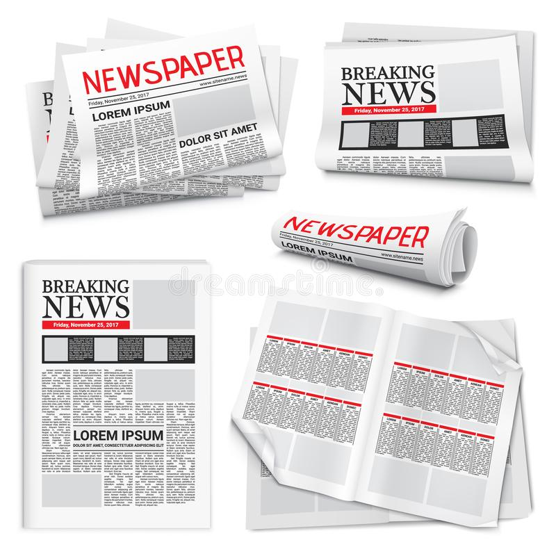 Newspaper Realistic Set royalty free illustration