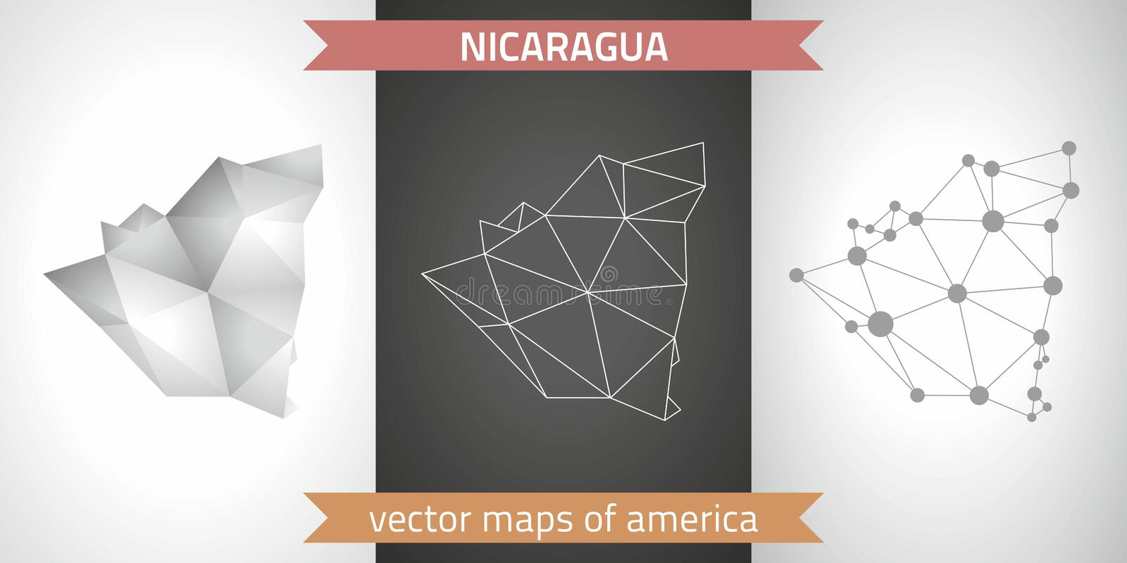 Nicaragua collection of vector design modern maps, gray and black and silver dot contour mosaic 3d map stock illustration
