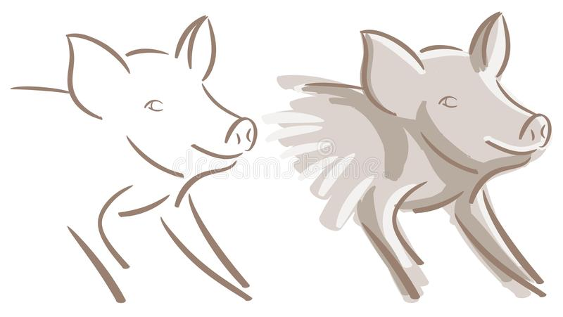 Set of Nice pig isolated vector illustration
