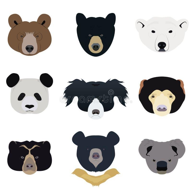 Set niedźwiedź i dzikie zwierzęta wektor i ikona royalty ilustracja