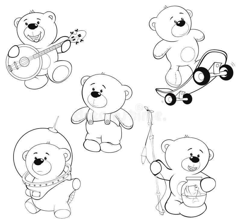 Set niedźwiedź kolorystyki książka royalty ilustracja