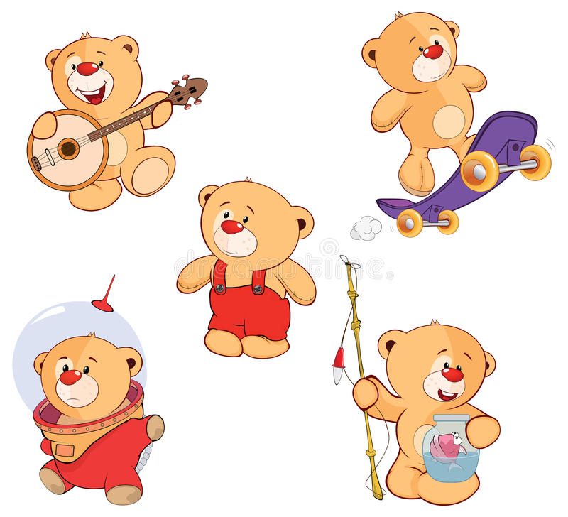 Set niedźwiedź kreskówka ilustracja wektor