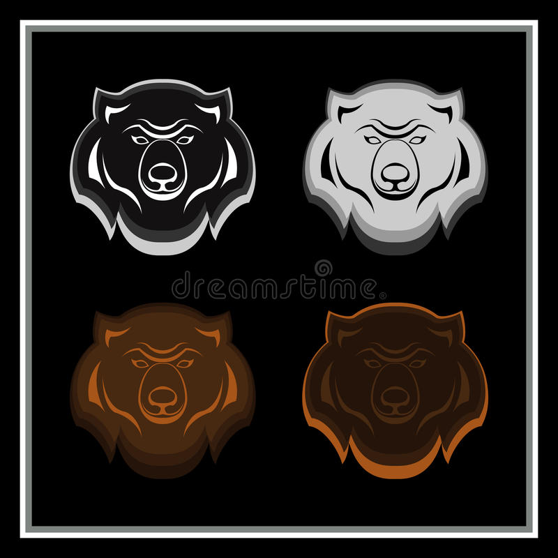 Set niedźwiedź przewodzi emblematy ilustracja wektor