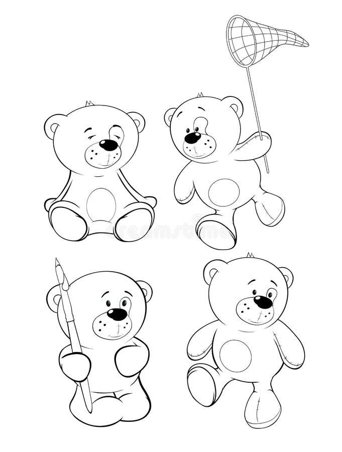 Set niedźwiedzie książkowa kolorowa kolorystyki grafiki ilustracja ilustracja wektor