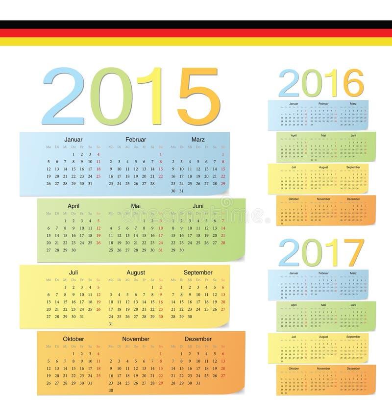 Set niemiec 2015, 2016, 2017 koloru wektoru kalendarzy ilustracji