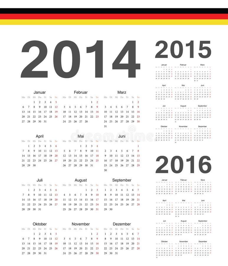 Set niemiec 2014, 2015, 2016 rok wektoru kalendarze ilustracji