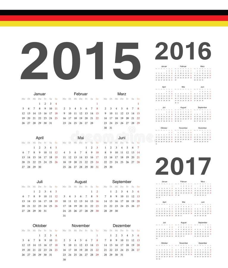 Set niemiec 2015, 2016, 2017 rok wektoru kalendarze ilustracji