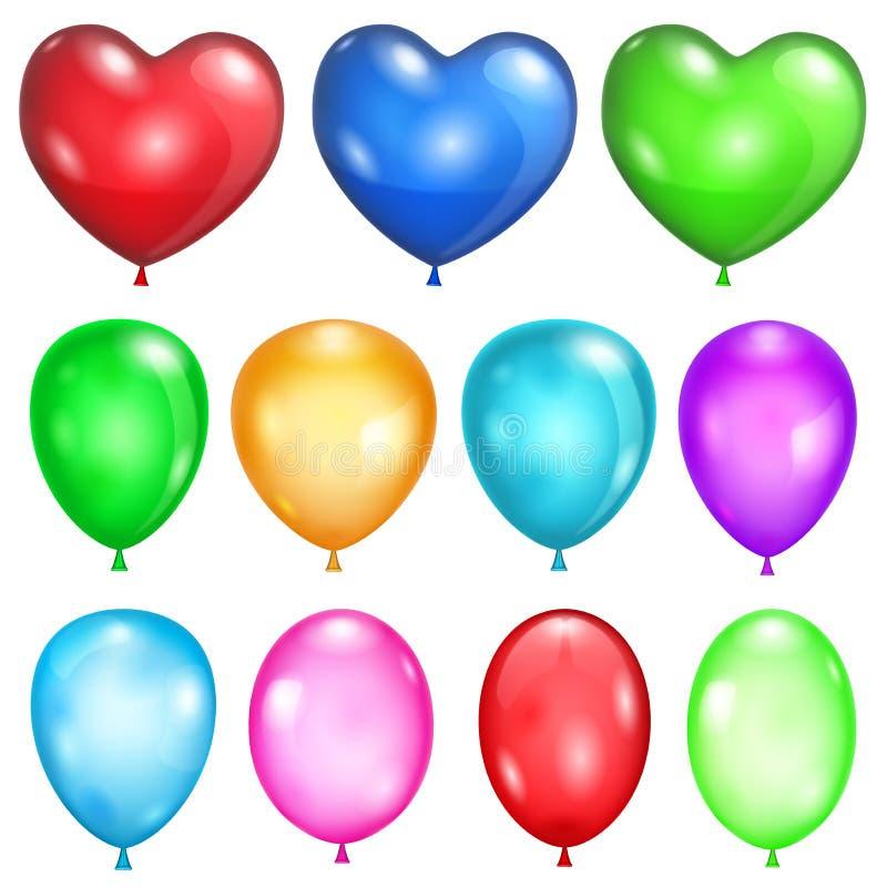 Set nieprzezroczyści balony royalty ilustracja