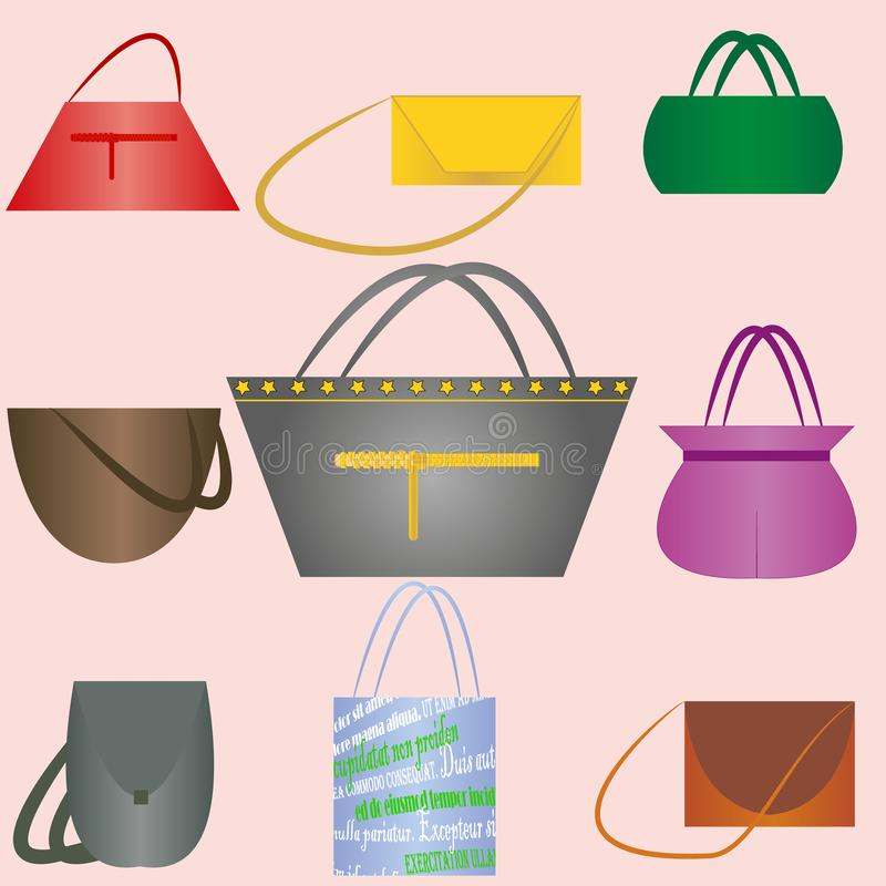 Set of nine beautiful handbags stock photography