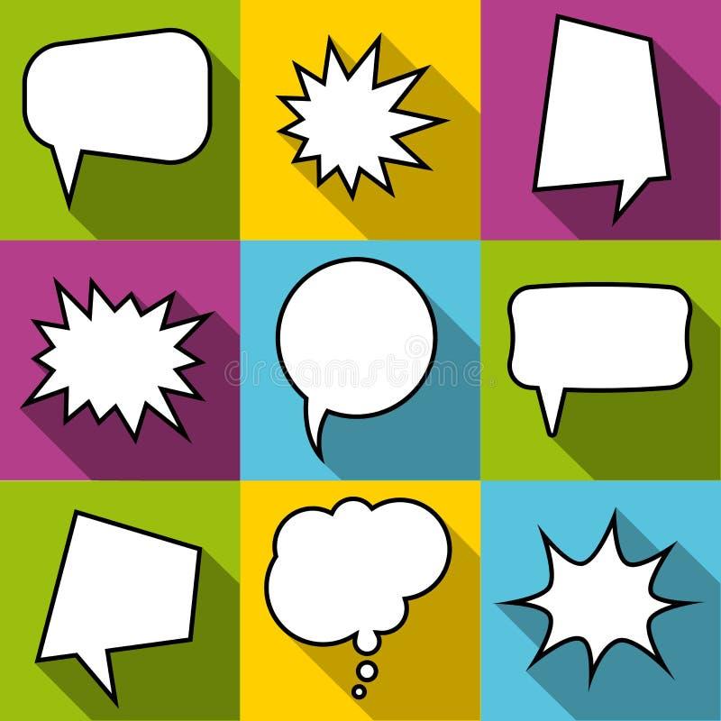 Set of nine cartoon comic balloon speech bubbles in flat style. stock image