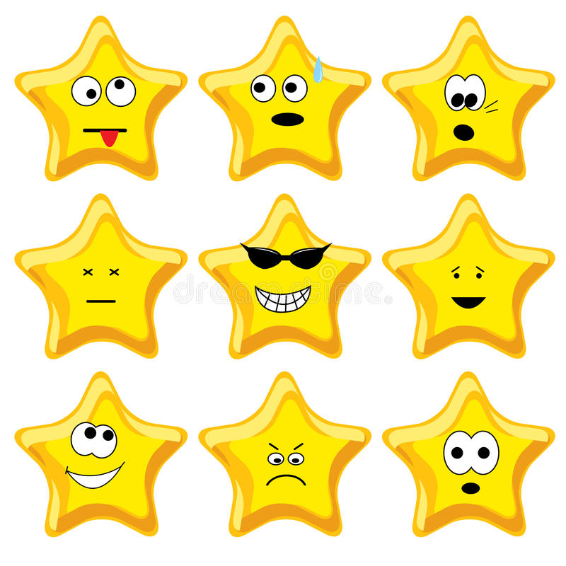 Set of nine cartoon gold stars. Vector illustration royalty free illustration