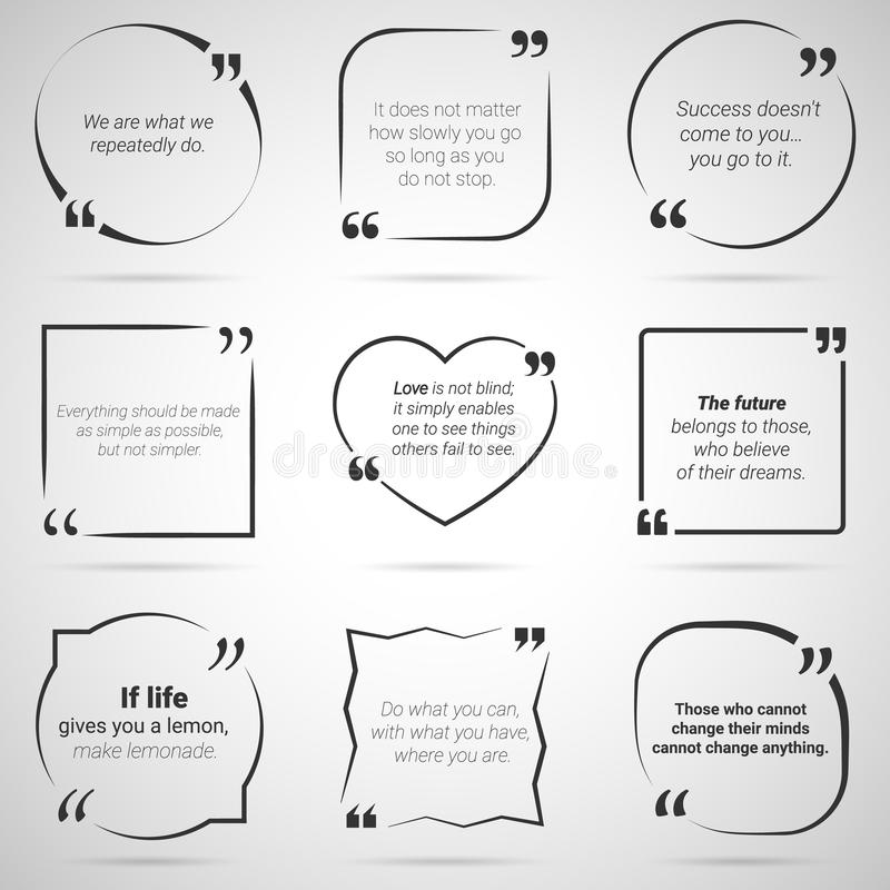 Set Of Nine Citations In Tex Boxes, Frames And Quotes. Vector Stock ...