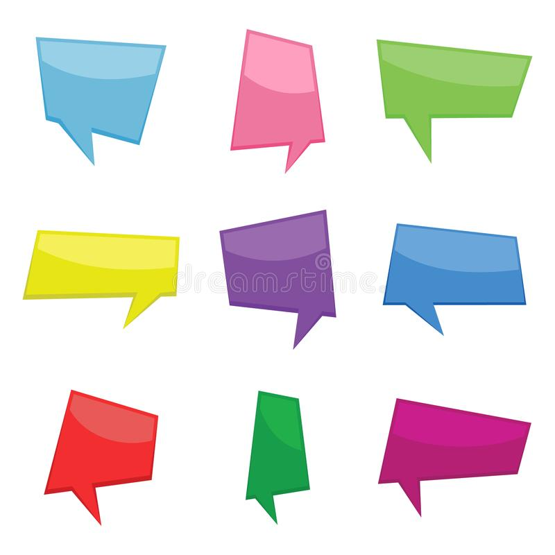 Set of nine colorful cartoon comic balloons speech bubbles without phrases. And with shadow. Vector illustration stock illustration