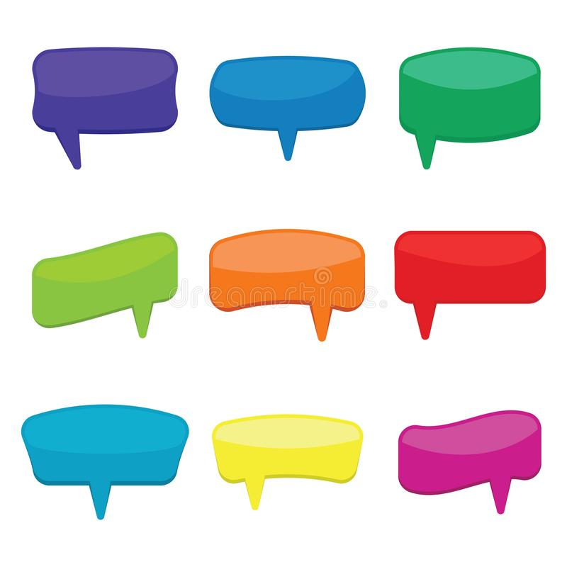 Set of nine colorful cartoon comic balloons speech bubbles without phrases. And with shadow. Vector illustration royalty free illustration