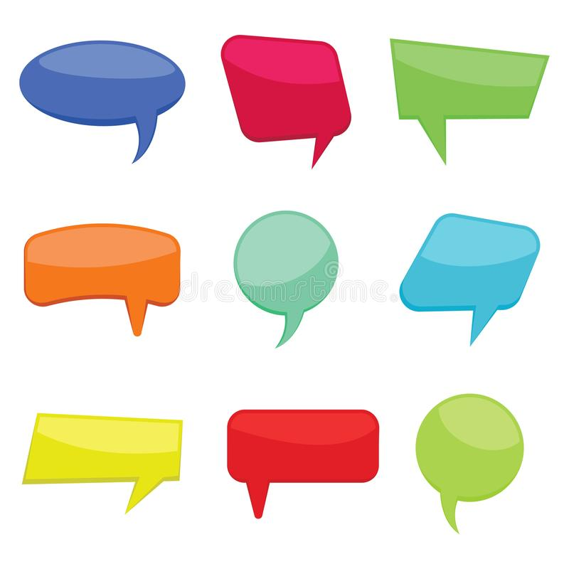 Set of nine colorful cartoon comic balloons speech bubbles without phrases. Vector illustration vector illustration
