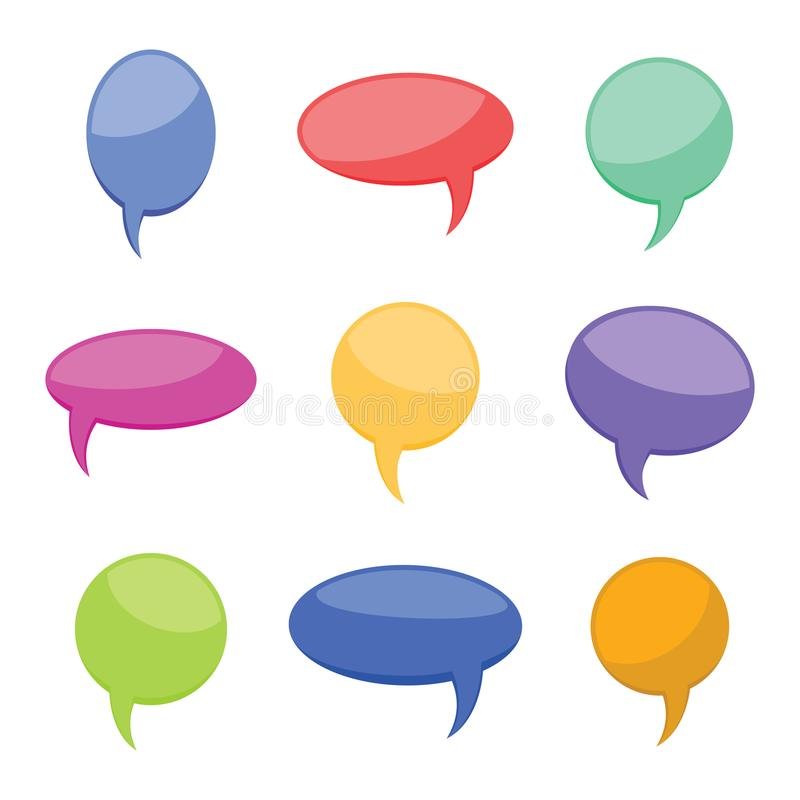 Set of nine colorful cartoon comic balloons speech bubbles without phrases and with shadow. Vector illustration stock illustration