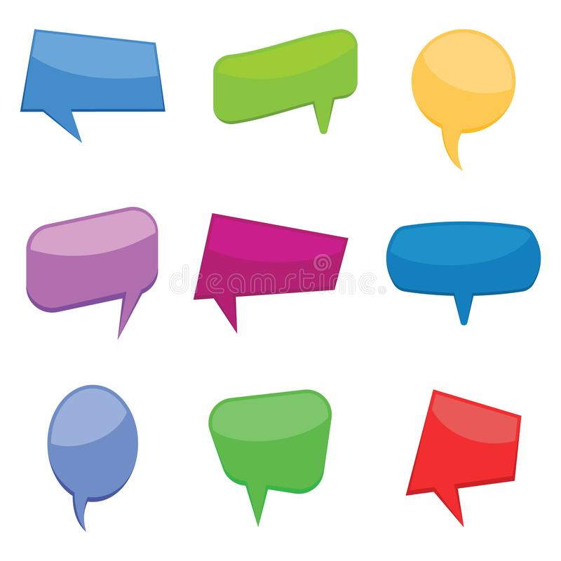 Set of nine colorful cartoon comic balloons speech bubbles without phrases. Vector illustration stock illustration